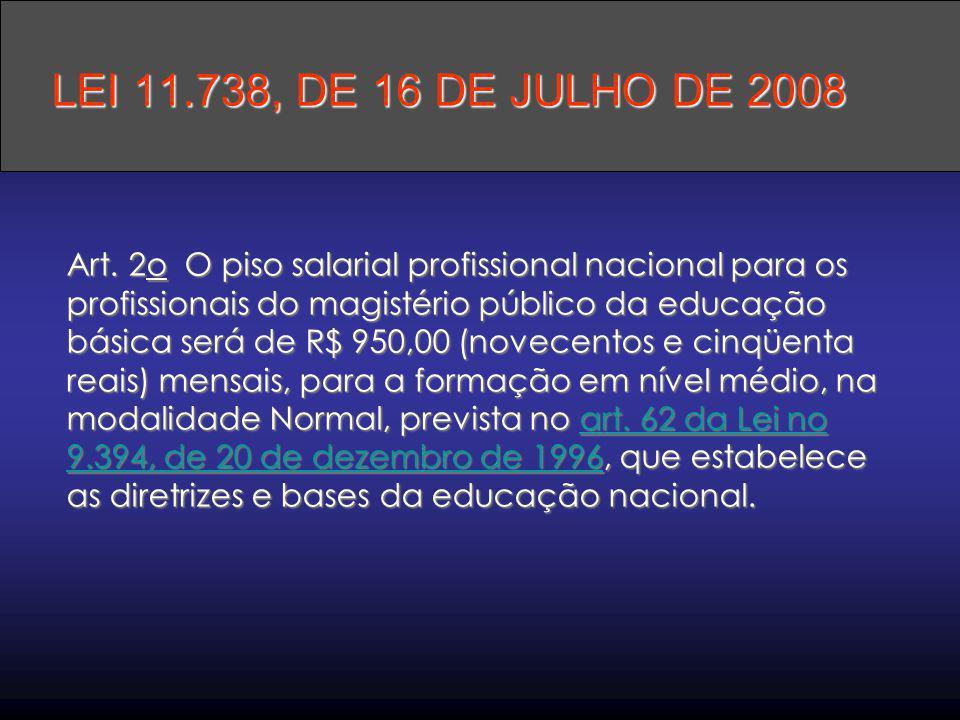 Art. 2o O piso salarial profissional nacional para os profissionais do magistério público da educação básica será de R$ 950,00 (novecentos e cinqüenta