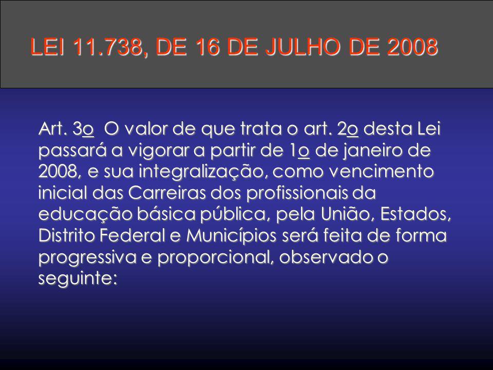 Art. 3o O valor de que trata o art. 2o desta Lei passará a vigorar a partir de 1o de janeiro de 2008, e sua integralização, como vencimento inicial da