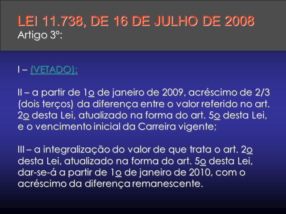 I – (VETADO); II – a partir de 1o de janeiro de 2009, acréscimo de 2/3 (dois terços) da diferença entre o valor referido no art. 2o desta Lei, atualiz