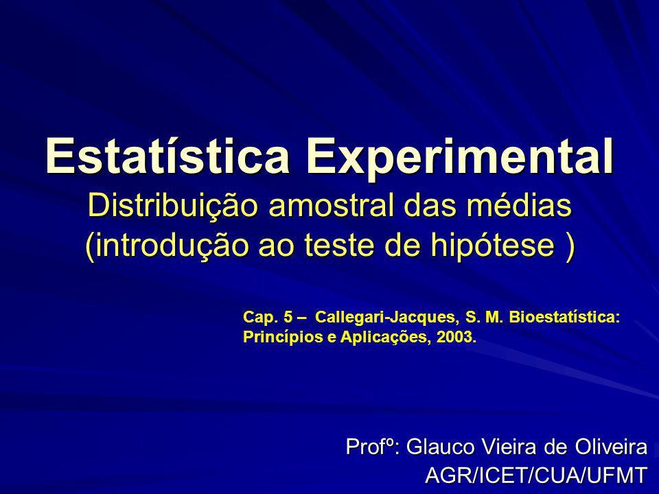 Estatística Experimental Distribuição amostral das médias (introdução ao teste de hipótese ) Profº: Glauco Vieira de Oliveira AGR/ICET/CUA/UFMT Cap. 5
