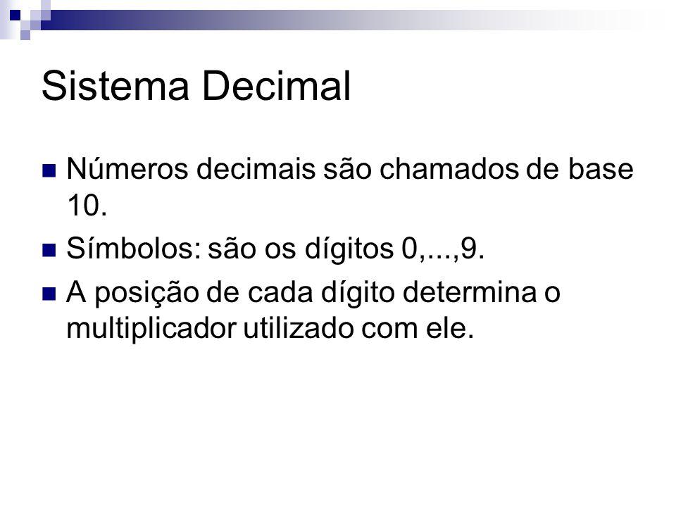 Sistema Decimal Números decimais são chamados de base 10. Símbolos: são os dígitos 0,...,9. A posição de cada dígito determina o multiplicador utiliza