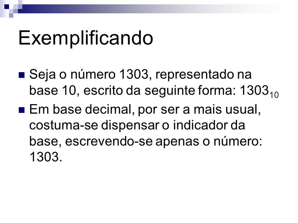 Exemplificando Seja o número 1303, representado na base 10, escrito da seguinte forma: 1303 10 Em base decimal, por ser a mais usual, costuma-se dispe