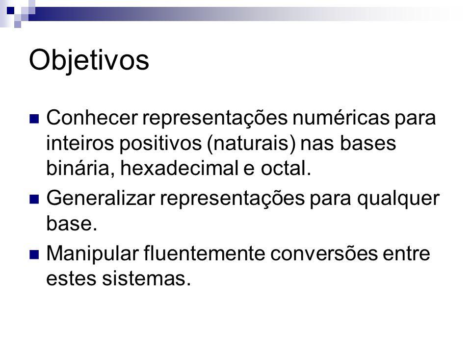 Objetivos Conhecer representações numéricas para inteiros positivos (naturais) nas bases binária, hexadecimal e octal. Generalizar representações para