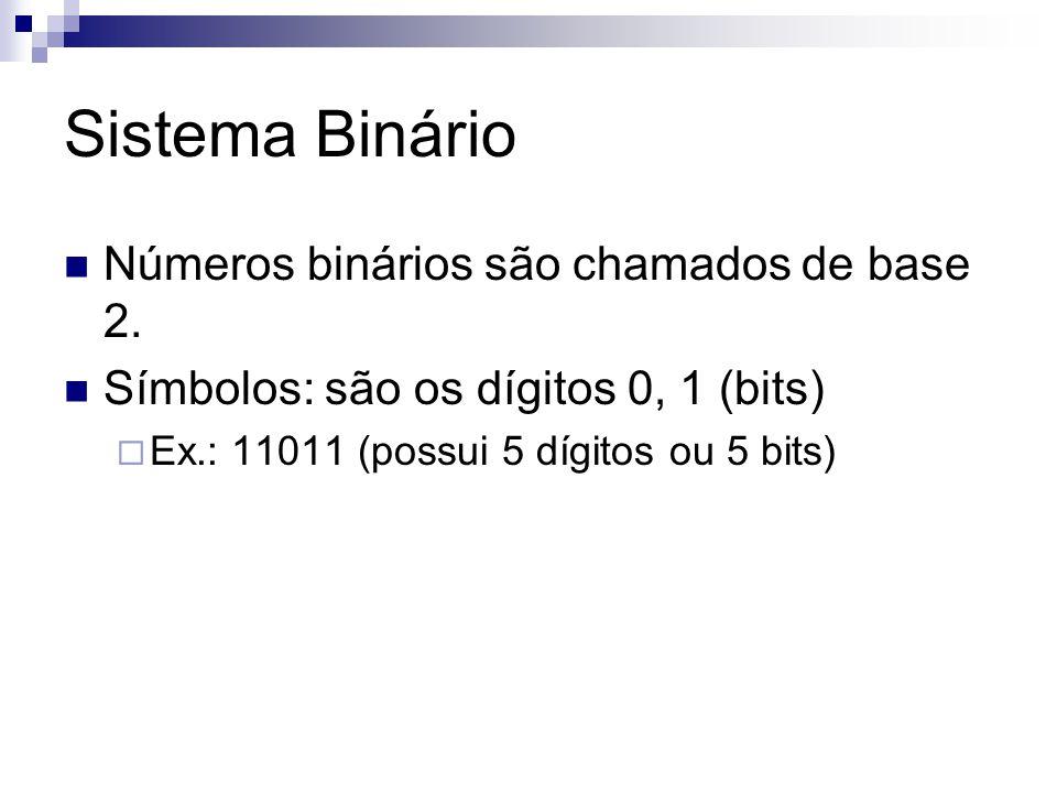 Sistema Binário Números binários são chamados de base 2. Símbolos: são os dígitos 0, 1 (bits)  Ex.: 11011 (possui 5 dígitos ou 5 bits)