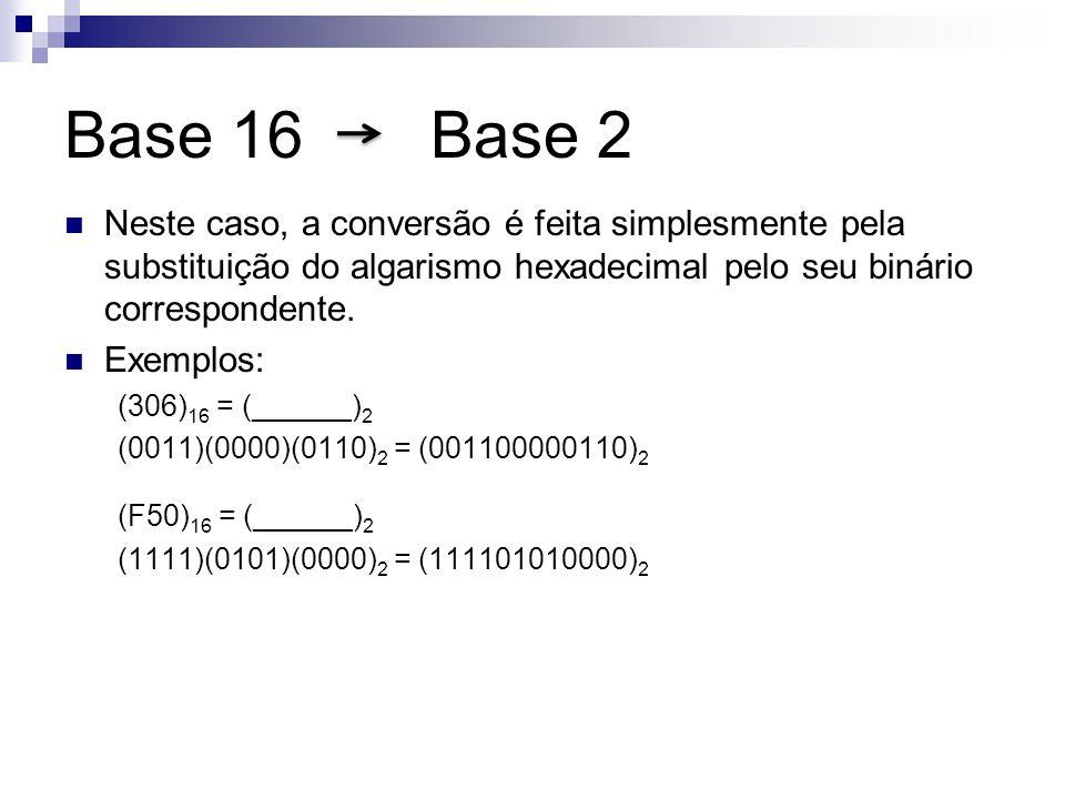 Base 16 Base 2 Neste caso, a conversão é feita simplesmente pela substituição do algarismo hexadecimal pelo seu binário correspondente. Exemplos: (306