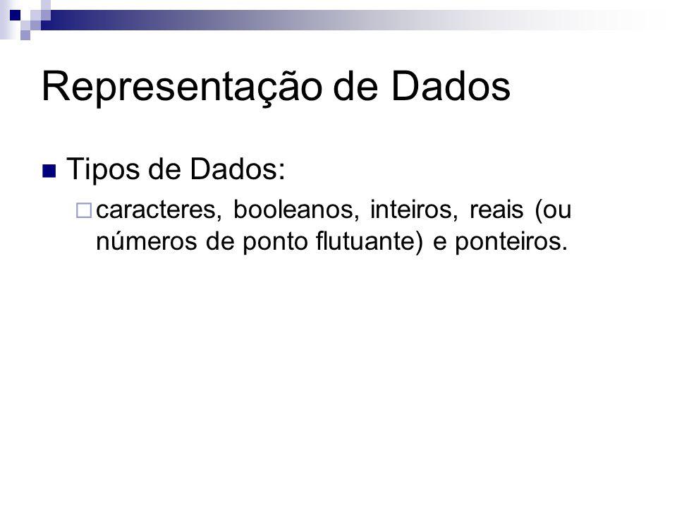 Representação de Dados Tipos de Dados:  caracteres, booleanos, inteiros, reais (ou números de ponto flutuante) e ponteiros.