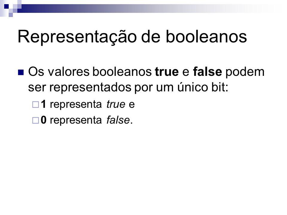 Representação de booleanos Os valores booleanos true e false podem ser representados por um único bit:  1 representa true e  0 representa false.