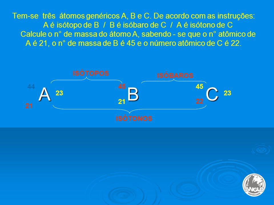 Tem-se três átomos genéricos A, B e C.