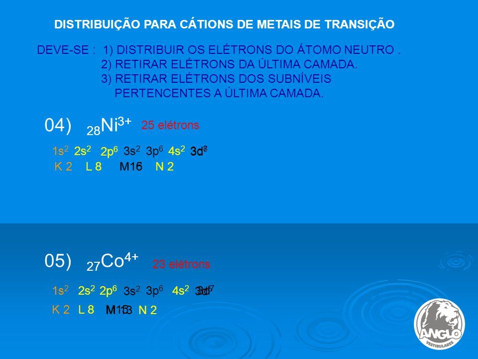 DISTRIBUIÇÃO PARA CÁTIONS DE METAIS DE TRANSIÇÃO 04) 28 Ni 3+ 25 elétrons DEVE-SE : 1) DISTRIBUIR OS ELÉTRONS DO ÁTOMO NEUTRO.