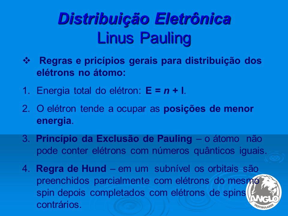 Distribuição Eletrônica Linus Pauling  Regras e pricípios gerais para distribuição dos elétrons no átomo: 1.Energia total do elétron: E = n + l.