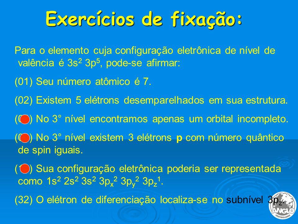 Exercícios de fixação: Para o elemento cuja configuração eletrônica de nível de valência é 3s 2 3p 5, pode-se afirmar: (01) Seu número atômico é 7.