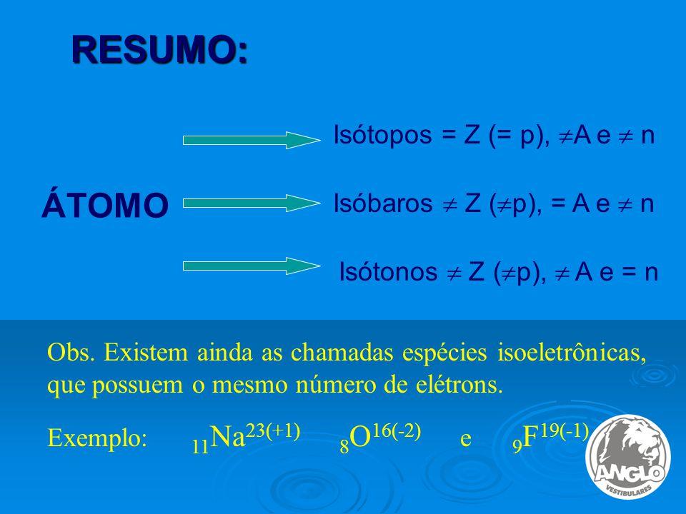 RESUMO: ÁTOMO Isótopos = Z (= p),  A e  n Isóbaros  Z (  p), = A e  n Isótonos  Z (  p),  A e = n Obs.