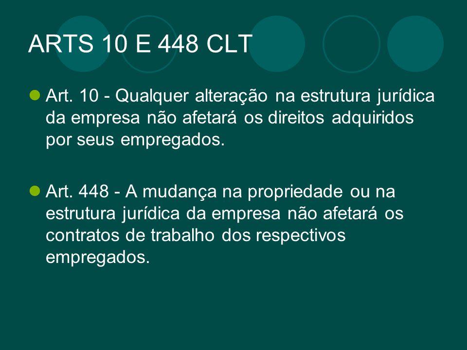 ARTS 10 E 448 CLT Art. 10 - Qualquer alteração na estrutura jurídica da empresa não afetará os direitos adquiridos por seus empregados. Art. 448 - A m