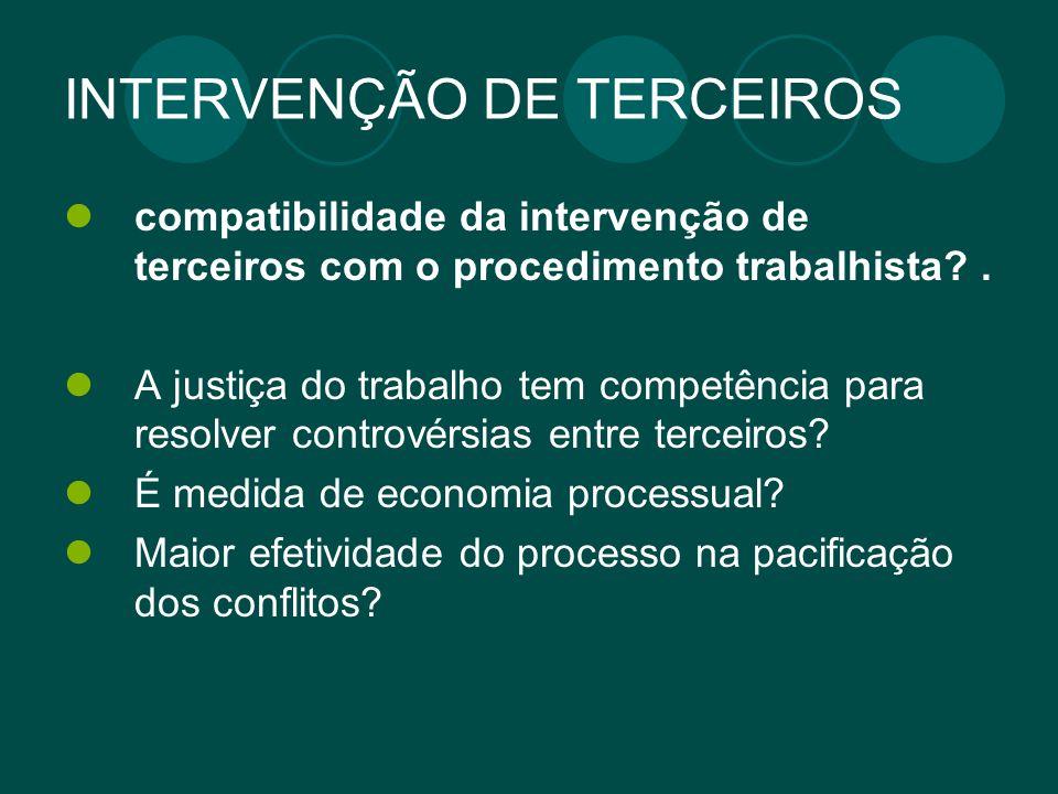 INTERVENÇÃO DE TERCEIROS compatibilidade da intervenção de terceiros com o procedimento trabalhista?. A justiça do trabalho tem competência para resol
