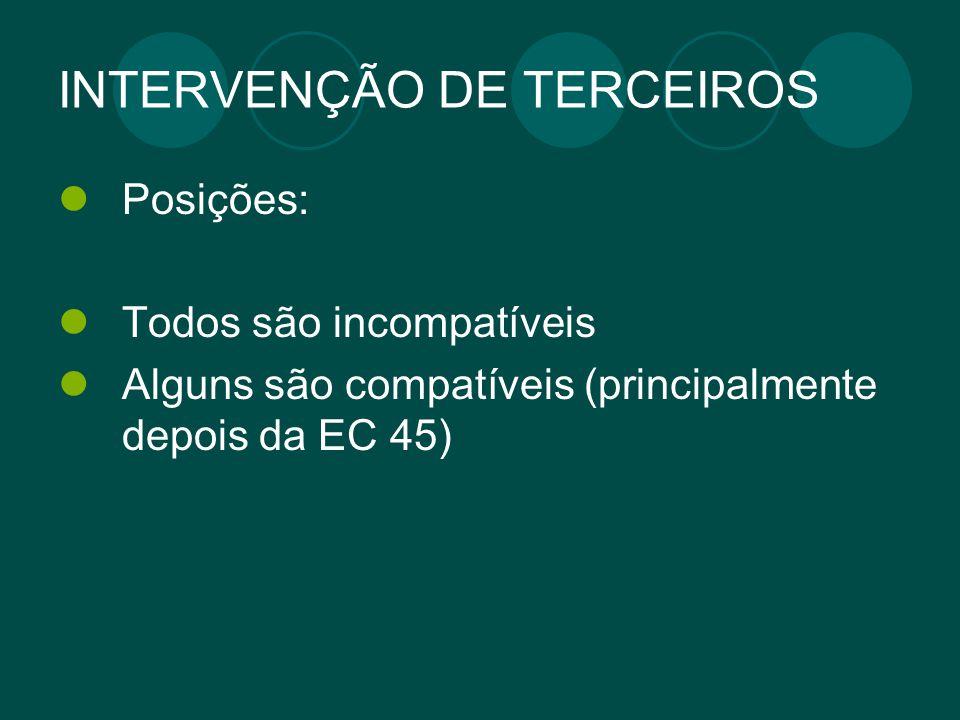 INTERVENÇÃO DE TERCEIROS Posições: Todos são incompatíveis Alguns são compatíveis (principalmente depois da EC 45)