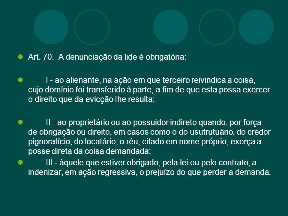 Art. 70. A denunciação da lide é obrigatória: I - ao alienante, na ação em que terceiro reivindica a coisa, cujo domínio foi transferido à parte, a fi