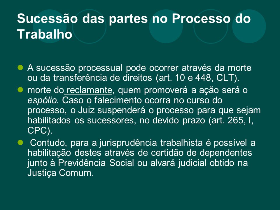 Sucessão das partes no Processo do Trabalho A sucessão processual pode ocorrer através da morte ou da transferência de direitos (art. 10 e 448, CLT).