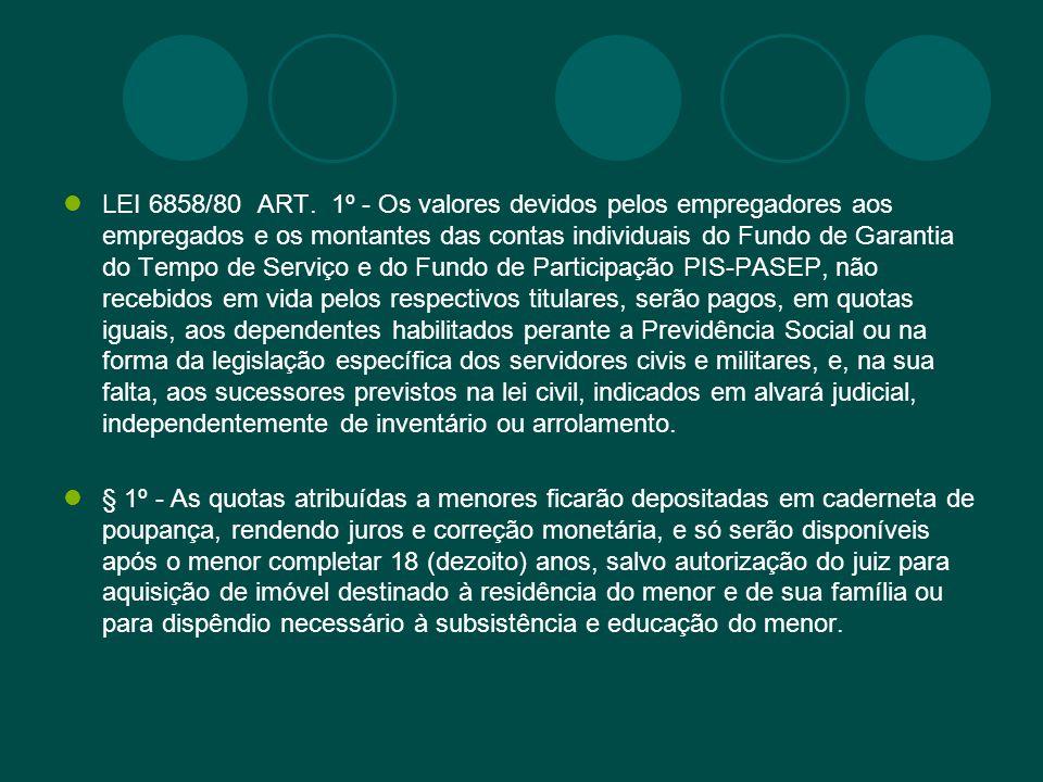 LEI 6858/80 ART. 1º - Os valores devidos pelos empregadores aos empregados e os montantes das contas individuais do Fundo de Garantia do Tempo de Serv