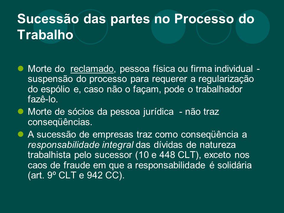 Sucessão das partes no Processo do Trabalho Morte do reclamado, pessoa física ou firma individual - suspensão do processo para requerer a regularizaçã