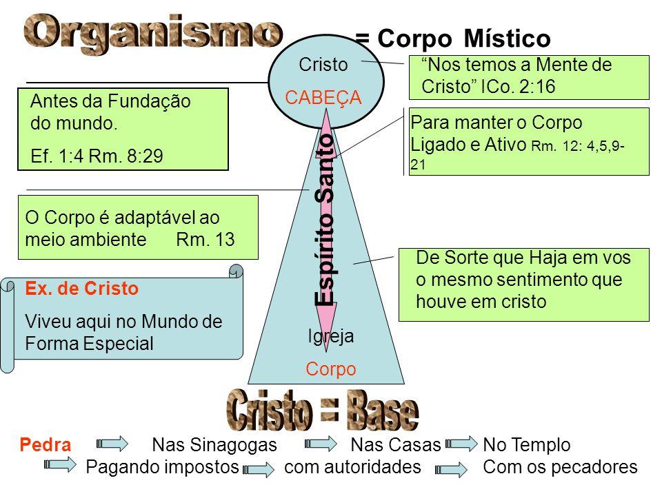 Cristo CABEÇA Antes da Fundação do mundo. Ef. 1:4 Rm.