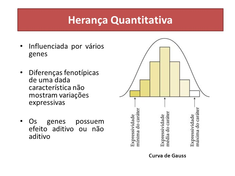 Influenciada por vários genes Diferenças fenotípicas de uma dada característica não mostram variações expressivas Os genes possuem efeito aditivo ou n