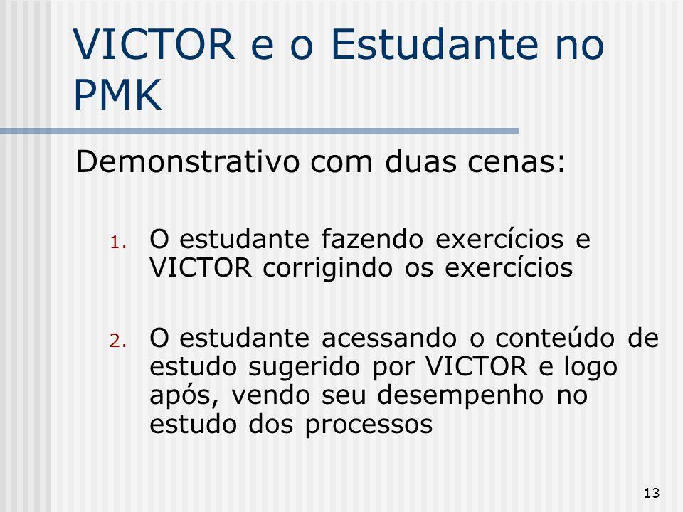13 VICTOR e o Estudante no PMK Demonstrativo com duas cenas: 1. O estudante fazendo exercícios e VICTOR corrigindo os exercícios 2. O estudante acessa