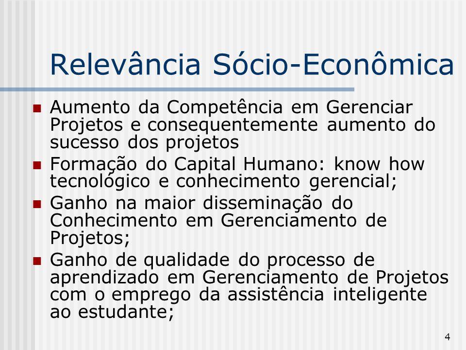4 Relevância Sócio-Econômica Aumento da Competência em Gerenciar Projetos e consequentemente aumento do sucesso dos projetos Formação do Capital Human