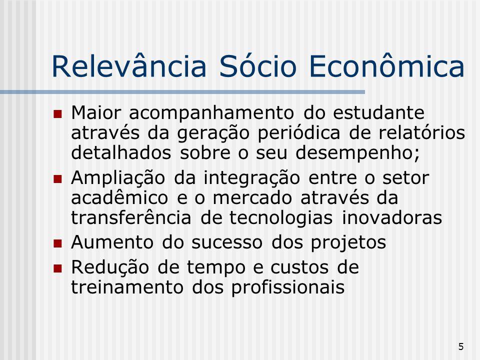 5 Relevância Sócio Econômica Maior acompanhamento do estudante através da geração periódica de relatórios detalhados sobre o seu desempenho; Ampliação