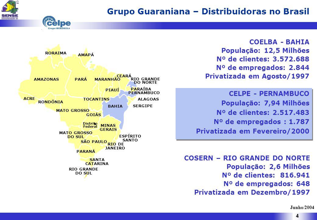 4 Estudo das Causas de Absenteísmo de Empregados em Auxílio Doença Previdenciário e Acidentário AMAZONAS RORAIMA PARÁ MATO GROSSO BAHIA MINAS GERAIS MARANHÃO PIAUÍ CEARÁ RIO GRANDE DO NORTE ALAGOAS SERGIPE GOIÁS MATO GROSSO DO SUL TOCANTINS ACRE ESPÍRITO SANTO RIO DE JANEIRO SÃO PAULO PARANÁ SANTA CATARINA RIO GRANDE DO SUL AMAPÁ RONDÔNIA Distrito Federal PERNAMBUCO PARAÍBA COELBA - BAHIA População: 12,5 Milhões Nº de clientes: 3.572.688 Nº de empregados: 2.844 Privatizada em Agosto/1997 CELPE - PERNAMBUCO População: 7,94 Milhões Nº de clientes: 2.517.483 Nº de empregados : 1.787 Privatizada em Fevereiro/2000 CELPE - PERNAMBUCO População: 7,94 Milhões Nº de clientes: 2.517.483 Nº de empregados : 1.787 Privatizada em Fevereiro/2000 COSERN – RIO GRANDE DO NORTE População: 2,6 Milhões Nº de clientes: 816.941 Nº de empregados: 648 Privatizada em Dezembro/1997 Junho/2004 Grupo Guaraniana – Distribuidoras no Brasil