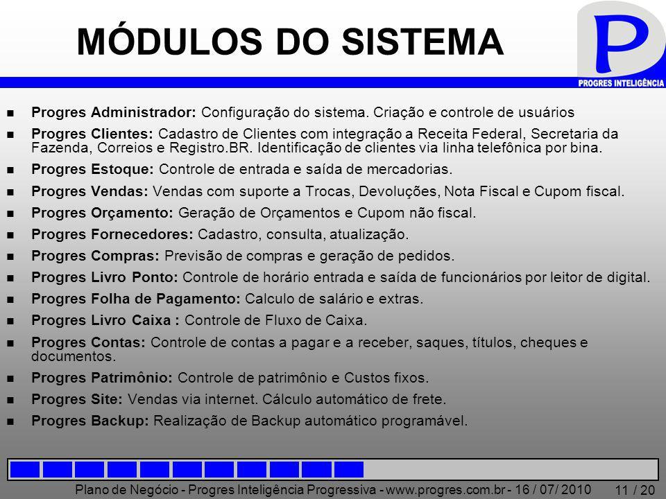 Plano de Negócio - Progres Inteligência Progressiva - www.progres.com.br - 16 / 07/ 2010 / 20 11 MÓDULOS DO SISTEMA Progres Administrador: Configuraçã