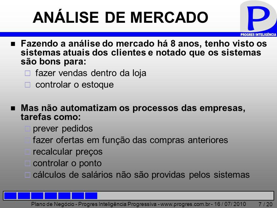 Plano de Negócio - Progres Inteligência Progressiva - www.progres.com.br - 16 / 07/ 2010 / 20 7 ANÁLISE DE MERCADO Fazendo a análise do mercado há 8 a