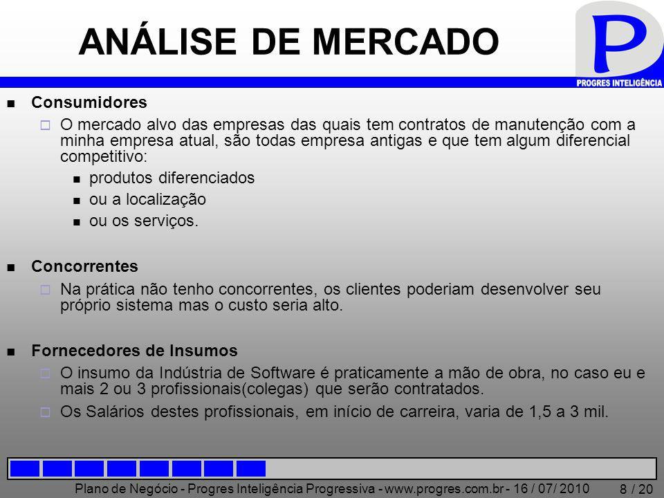 Plano de Negócio - Progres Inteligência Progressiva - www.progres.com.br - 16 / 07/ 2010 / 20 8 ANÁLISE DE MERCADO Consumidores  O mercado alvo das e
