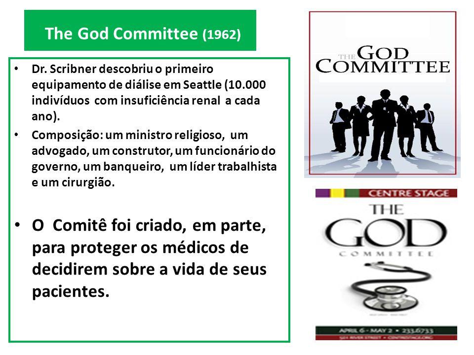 The God Committee (1962) Dr. Scribner descobriu o primeiro equipamento de diálise em Seattle (10.000 indivíduos com insuficiência renal a cada ano). C