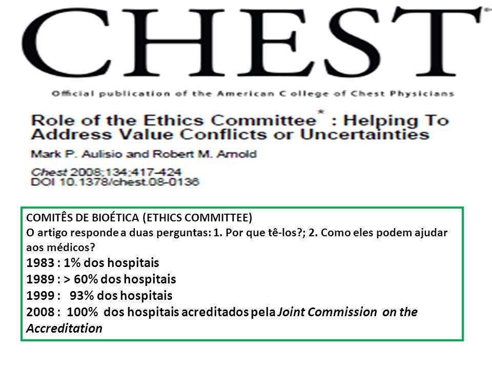COMITÊS DE BIOÉTICA (ETHICS COMMITTEE) O artigo responde a duas perguntas: 1. Por que tê-los?; 2. Como eles podem ajudar aos médicos? 1983 : 1% dos ho