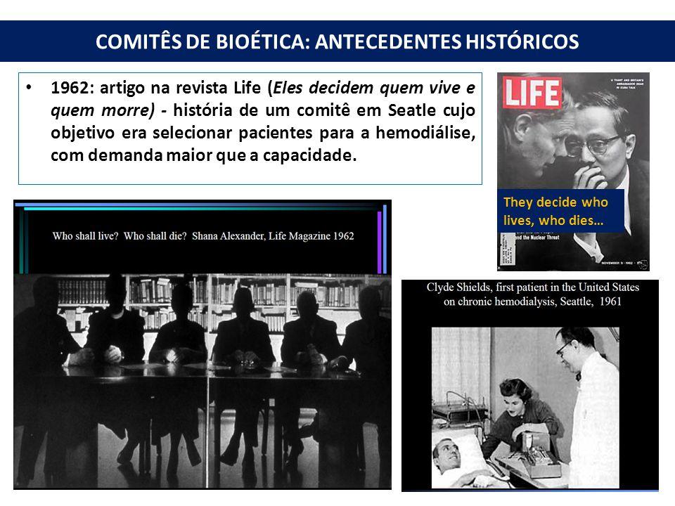COMITÊS DE BIOÉTICA: ANTECEDENTES HISTÓRICOS 1962: artigo na revista Life (Eles decidem quem vive e quem morre) - história de um comitê em Seatle cujo