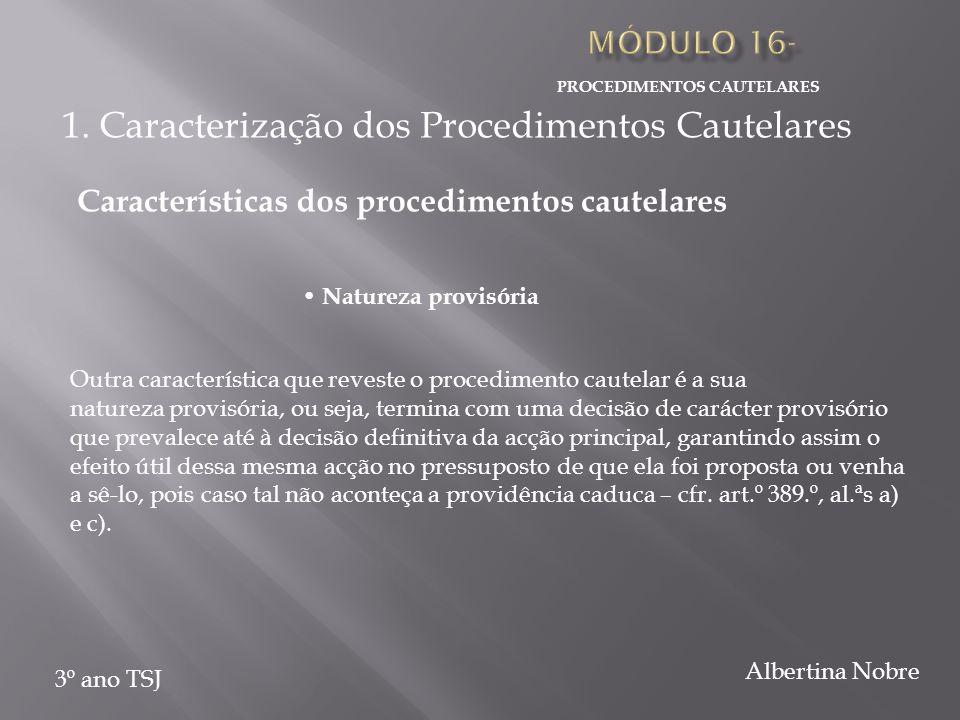PROCEDIMENTOS CAUTELARES 3º ano TSJ Albertina Nobre Outra característica que reveste o procedimento cautelar é a sua natureza provisória, ou seja, ter