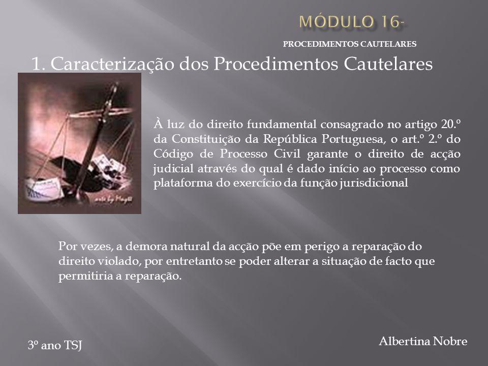 PROCEDIMENTOS CAUTELARES 3º ano TSJ Albertina Nobre À luz do direito fundamental consagrado no artigo 20.º da Constituição da República Portuguesa, o