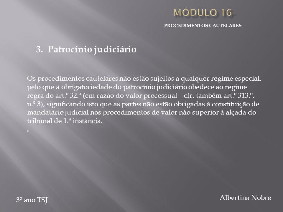 PROCEDIMENTOS CAUTELARES 3º ano TSJ Albertina Nobre 3. Patrocínio judiciário Os procedimentos cautelares não estão sujeitos a qualquer regime especial