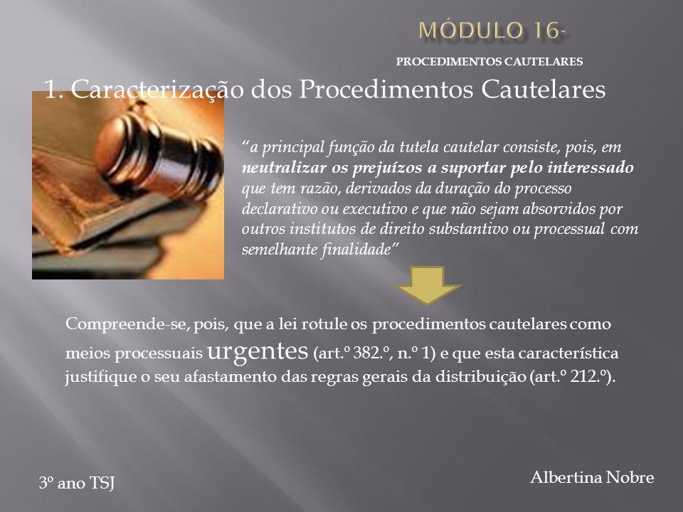 """PROCEDIMENTOS CAUTELARES 3º ano TSJ Albertina Nobre """" a principal função da tutela cautelar consiste, pois, em neutralizar os prejuízos a suportar pel"""