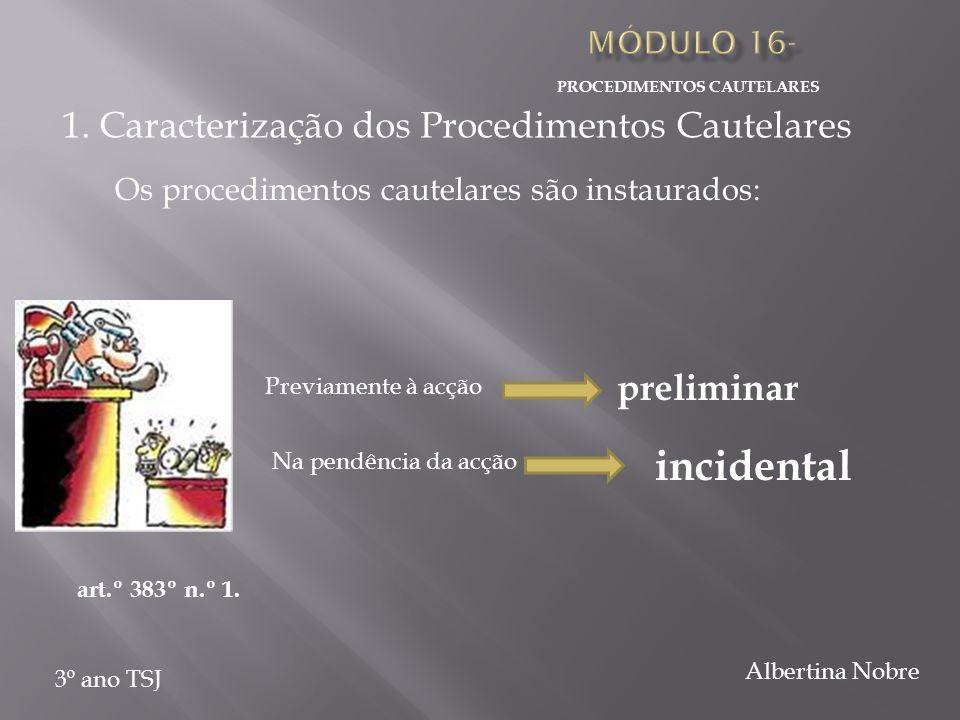 PROCEDIMENTOS CAUTELARES 3º ano TSJ Albertina Nobre Os procedimentos cautelares são instaurados: Previamente à acção preliminar Na pendência da acção incidental art.º 383º n.º 1.
