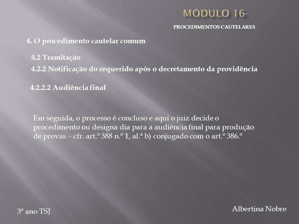 PROCEDIMENTOS CAUTELARES 3º ano TSJ Albertina Nobre Em seguida, o processo é concluso e aqui o juiz decide o procedimento ou designa dia para a audiência final para produção de provas – cfr.
