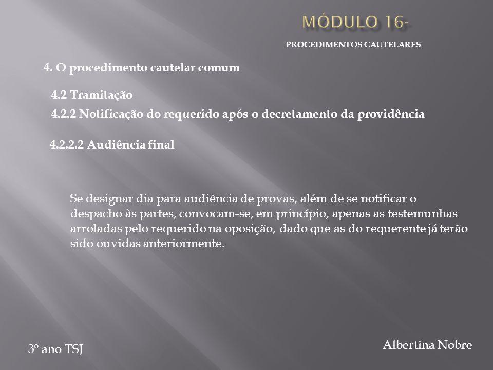PROCEDIMENTOS CAUTELARES 3º ano TSJ Albertina Nobre Se designar dia para audiência de provas, além de se notificar o despacho às partes, convocam-se,