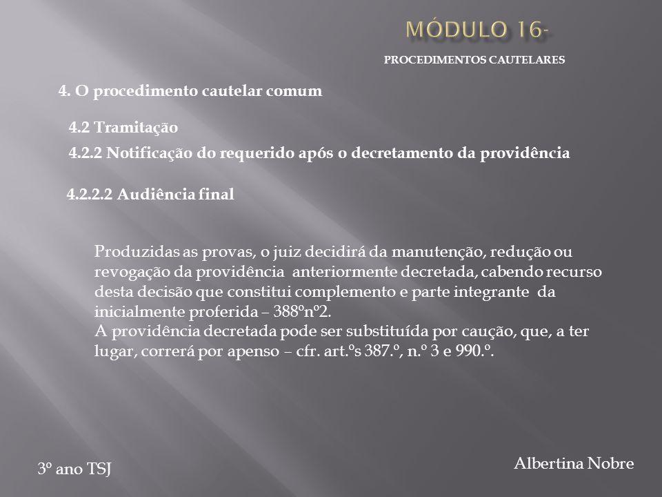 PROCEDIMENTOS CAUTELARES 3º ano TSJ Albertina Nobre Produzidas as provas, o juiz decidirá da manutenção, redução ou revogação da providência anteriorm