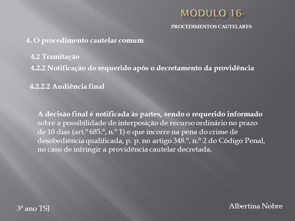 PROCEDIMENTOS CAUTELARES 3º ano TSJ Albertina Nobre A decisão final é notificada às partes, sendo o requerido informado sobre a possibilidade de inter