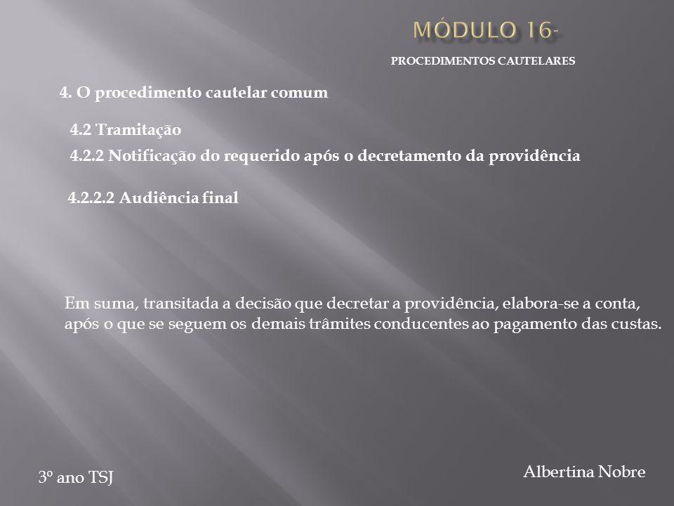 PROCEDIMENTOS CAUTELARES 3º ano TSJ Albertina Nobre Em suma, transitada a decisão que decretar a providência, elabora-se a conta, após o que se seguem