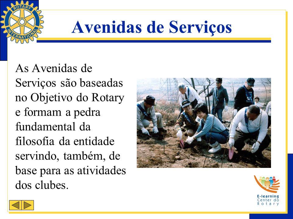 As Avenidas de Serviços são baseadas no Objetivo do Rotary e formam a pedra fundamental da filosofia da entidade servindo, também, de base para as atividades dos clubes.