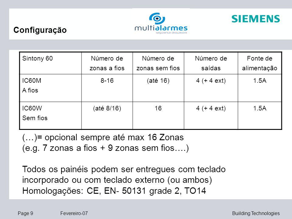 Page 9 Fevereiro-07 Building Technologies Configuração Sintony 60 Número de zonas a fios Número de zonas sem fios Número de saídas Fonte de alimentaçã