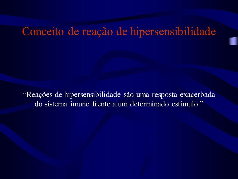"""Conceito de reação de hipersensibilidade """"Reações de hipersensibilidade são uma resposta exacerbada do sistema imune frente a um determinado estímulo."""