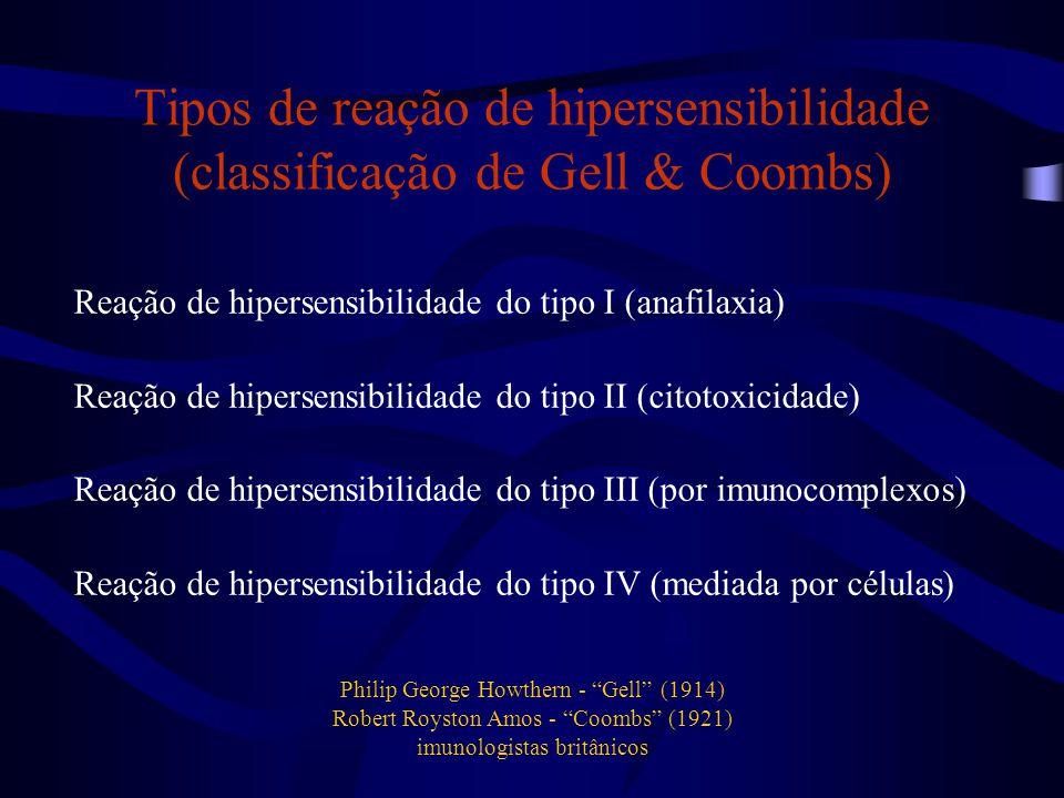 Tipos de reação de hipersensibilidade (classificação de Gell & Coombs) Reação de hipersensibilidade do tipo I (anafilaxia) Reação de hipersensibilidad