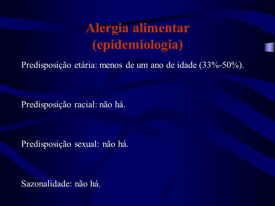 Alergia alimentar (epidemiologia) Predisposição etária: menos de um ano de idade (33%-50%). Predisposição racial: não há. Predisposição sexual: não há